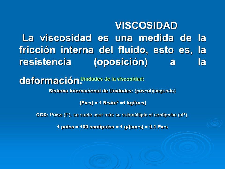 VISCOSIDAD La viscosidad es una medida de la fricción interna del fluido, esto es, la resistencia (oposición) a la deformación.
