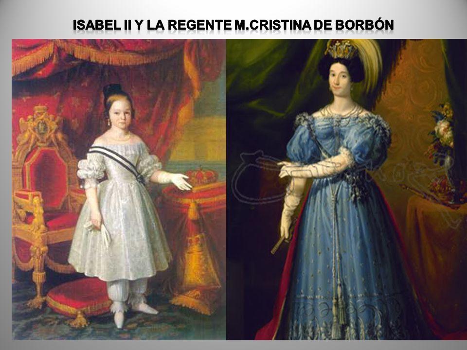 ISABEL II y la regente m.cristina de borbón