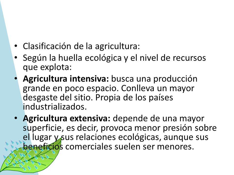 Clasificación de la agricultura: