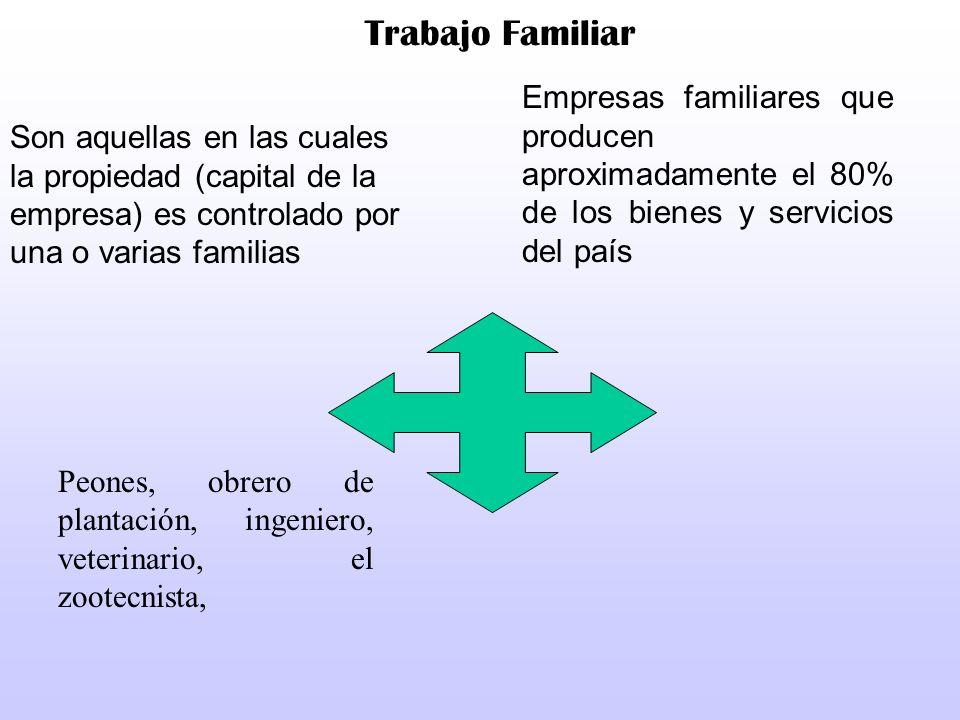Trabajo FamiliarEmpresas familiares que producen aproximadamente el 80% de los bienes y servicios del país.