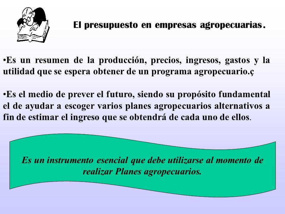 El presupuesto en empresas agropecuarias.
