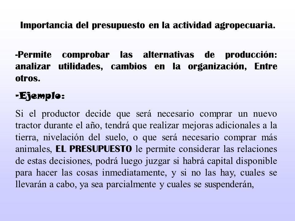 Importancia del presupuesto en la actividad agropecuaria.