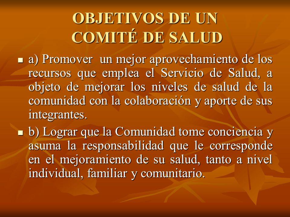 OBJETIVOS DE UN COMITÉ DE SALUD