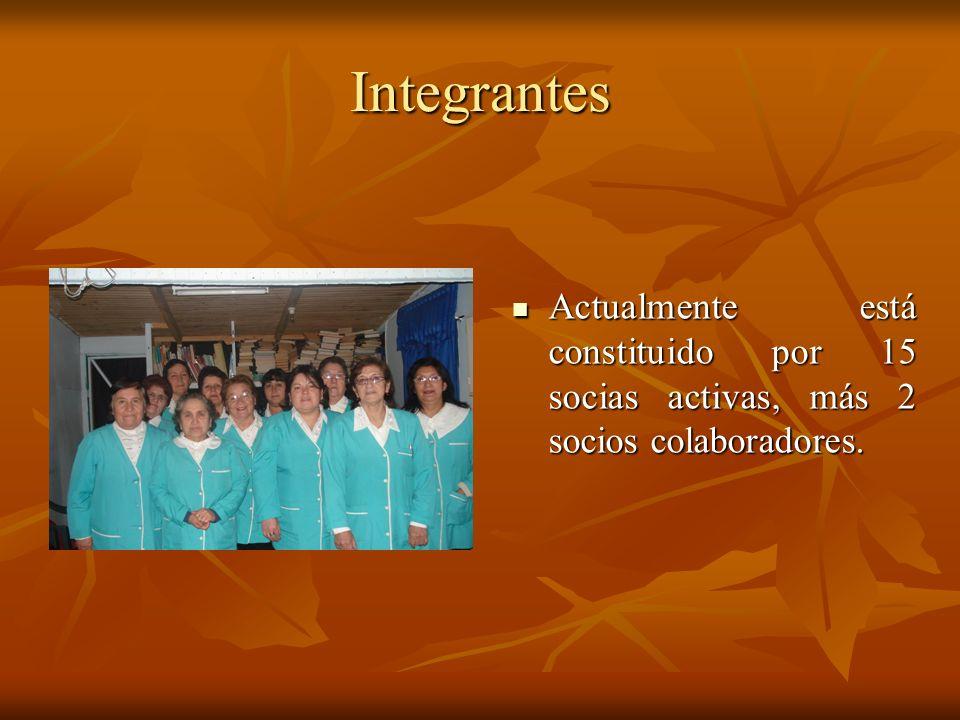 Integrantes Actualmente está constituido por 15 socias activas, más 2 socios colaboradores.