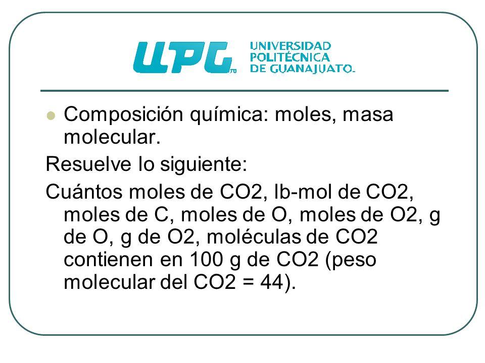 Composición química: moles, masa molecular.