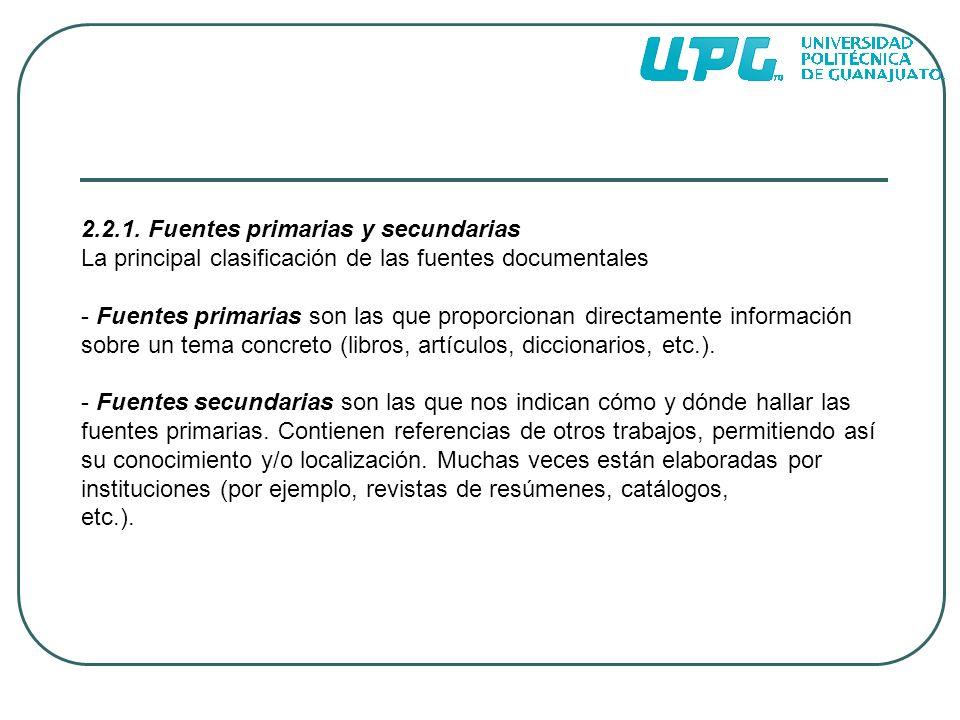 2.2.1. Fuentes primarias y secundarias