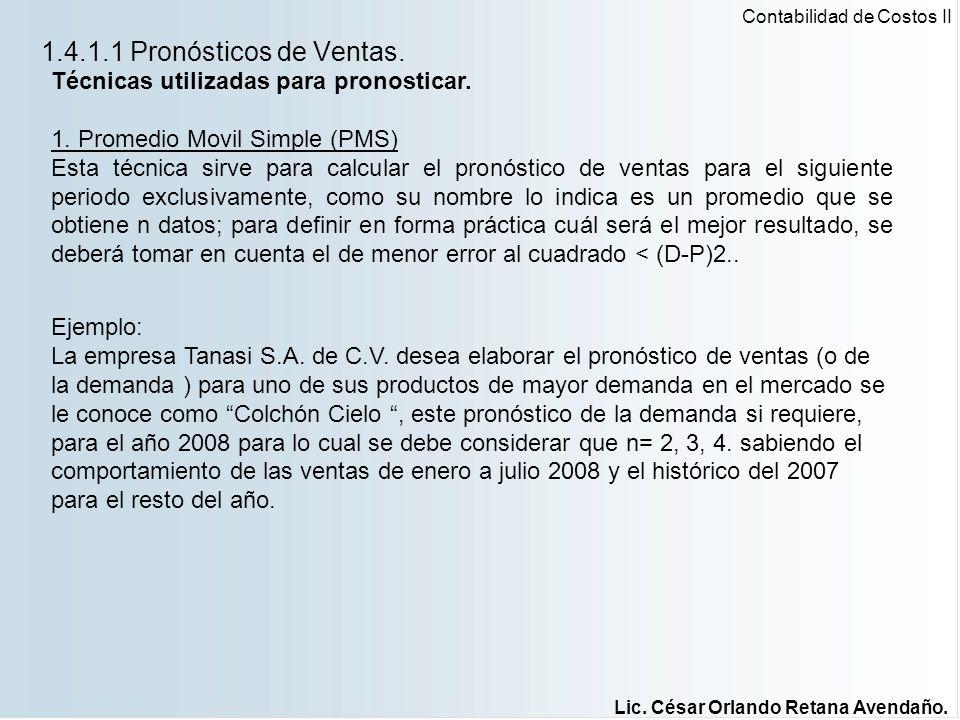 1.4.1.1 Pronósticos de Ventas. Técnicas utilizadas para pronosticar.