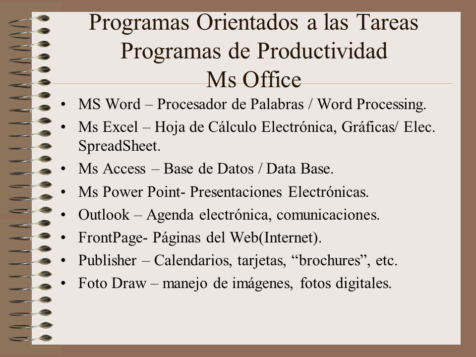 Programas Orientados a las Tareas Programas de Productividad Ms Office