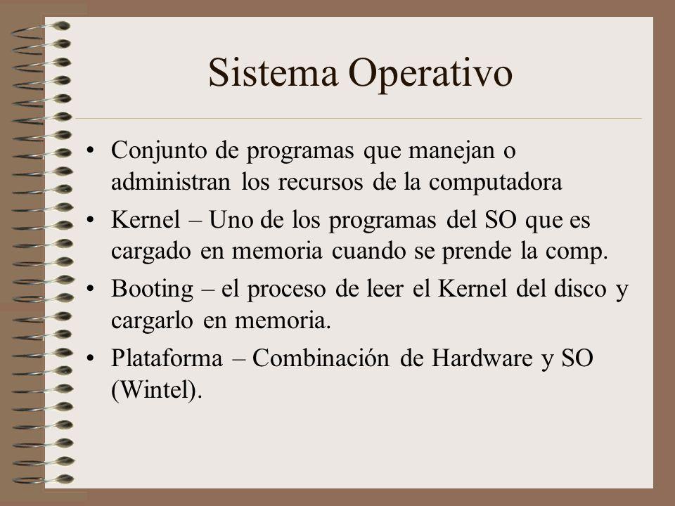 Sistema Operativo Conjunto de programas que manejan o administran los recursos de la computadora.