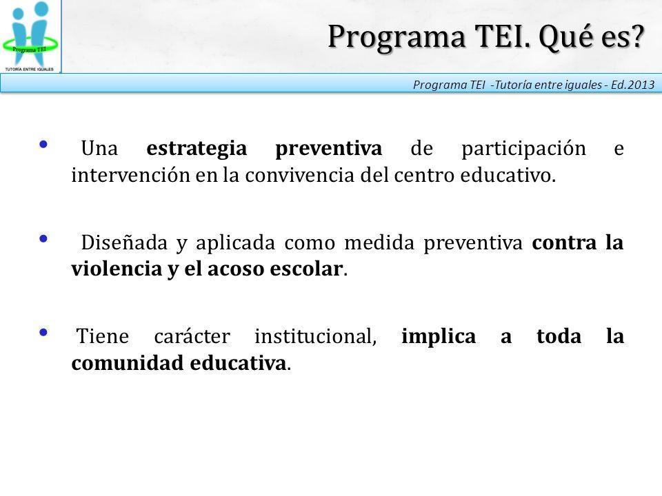 Programa TEI. Qué es Una estrategia preventiva de participación e intervención en la convivencia del centro educativo.