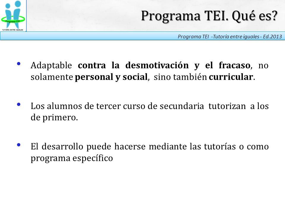 Programa TEI. Qué es Adaptable contra la desmotivación y el fracaso, no solamente personal y social, sino también curricular.
