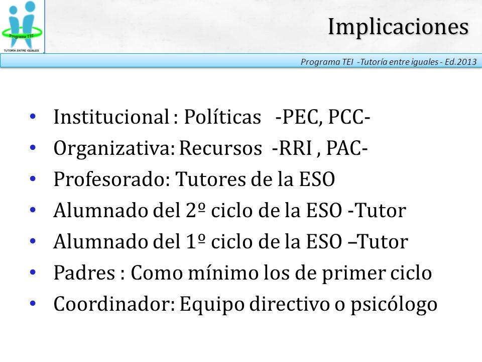 Implicaciones Institucional : Políticas -PEC, PCC-