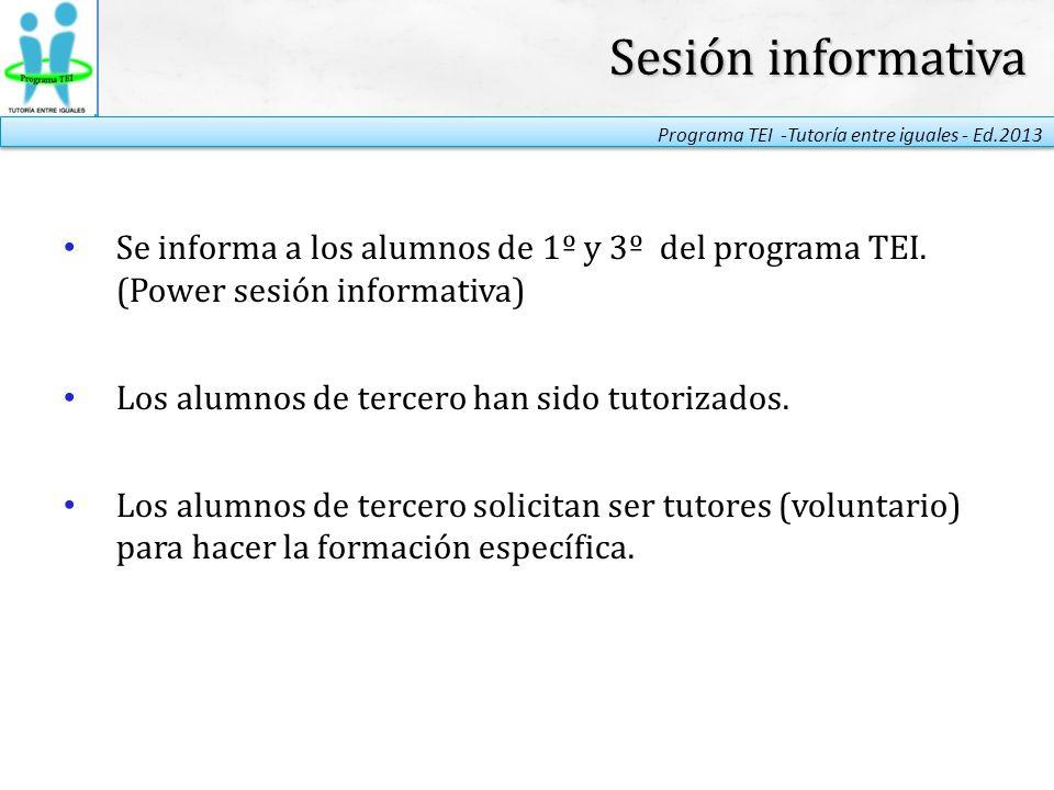 Sesión informativa Se informa a los alumnos de 1º y 3º del programa TEI. (Power sesión informativa)