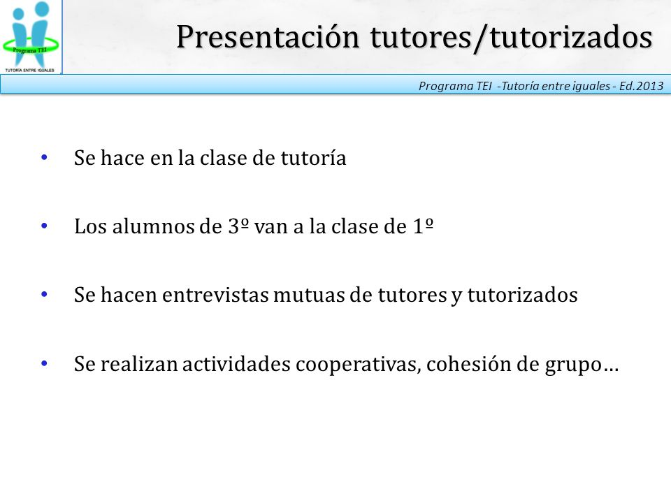 Presentación tutores/tutorizados
