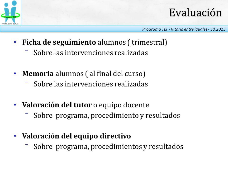 Evaluación Ficha de seguimiento alumnos ( trimestral)