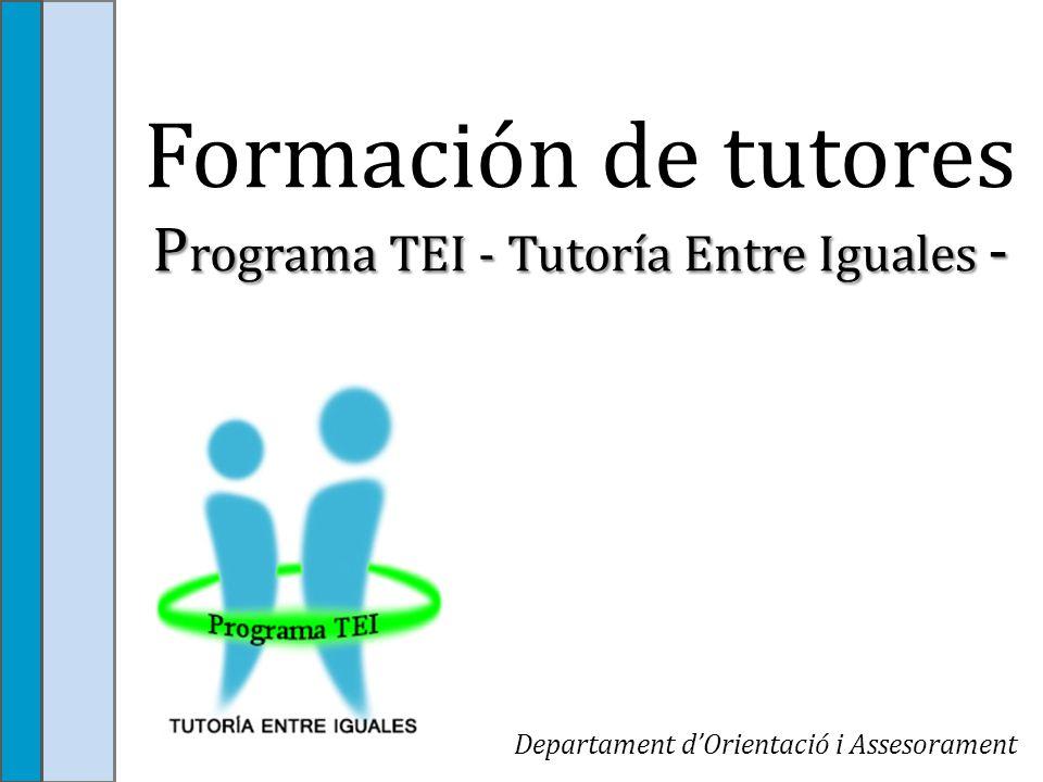 Formación de tutores Programa TEI - Tutoría Entre Iguales -