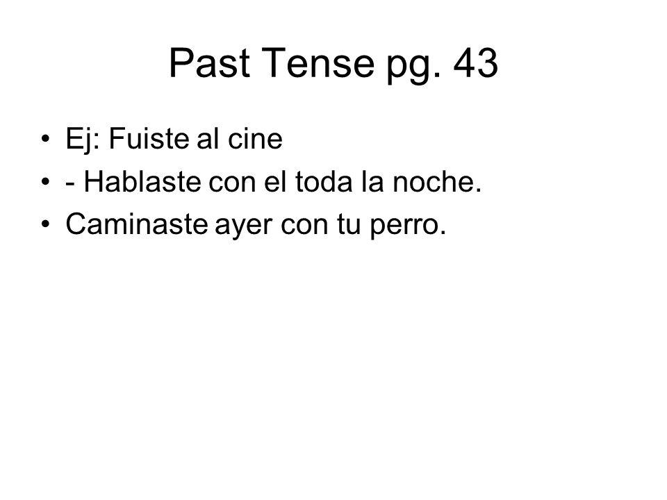 Past Tense pg. 43 Ej: Fuiste al cine - Hablaste con el toda la noche.