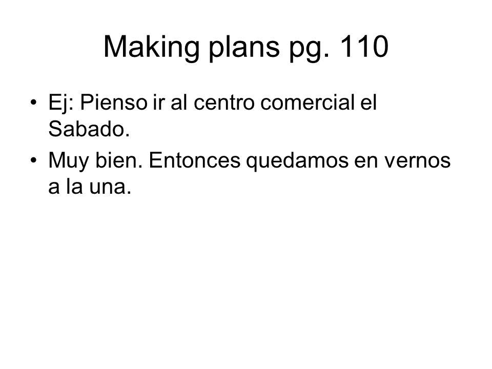 Making plans pg. 110 Ej: Pienso ir al centro comercial el Sabado.