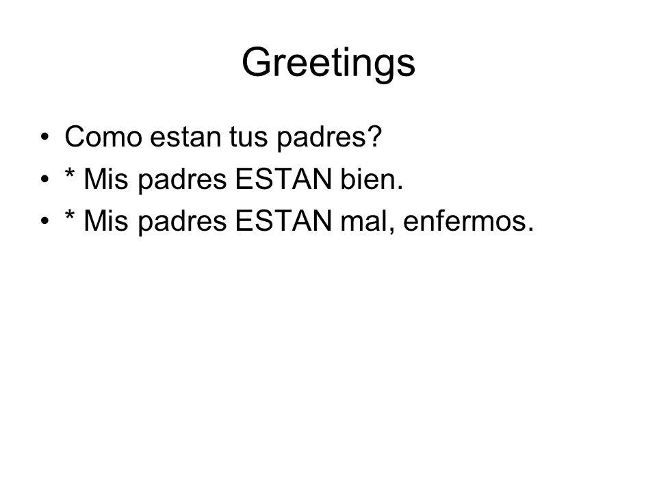 Greetings Como estan tus padres * Mis padres ESTAN bien.