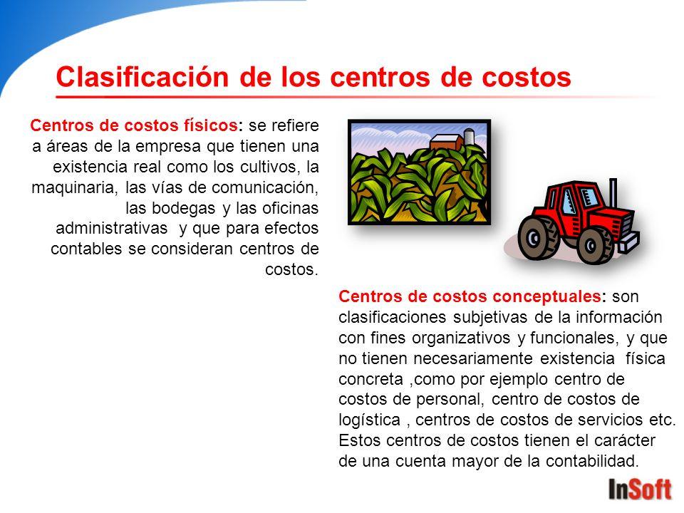 Clasificación de los centros de costos