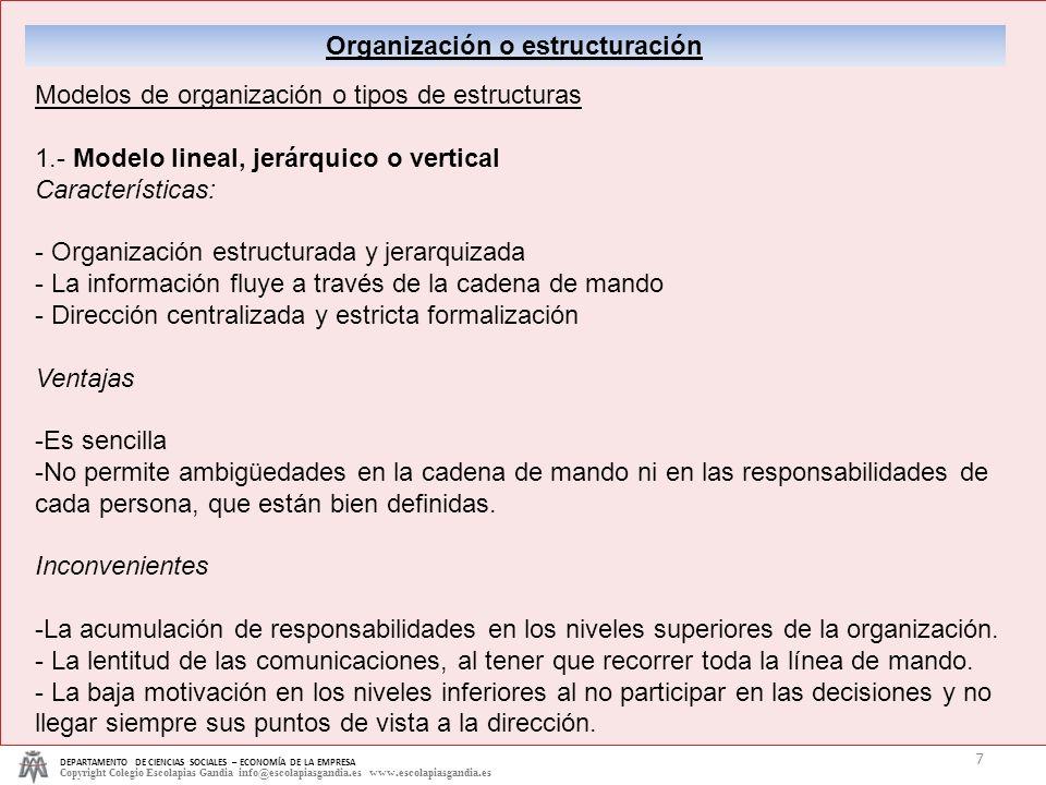 Organización o estructuración