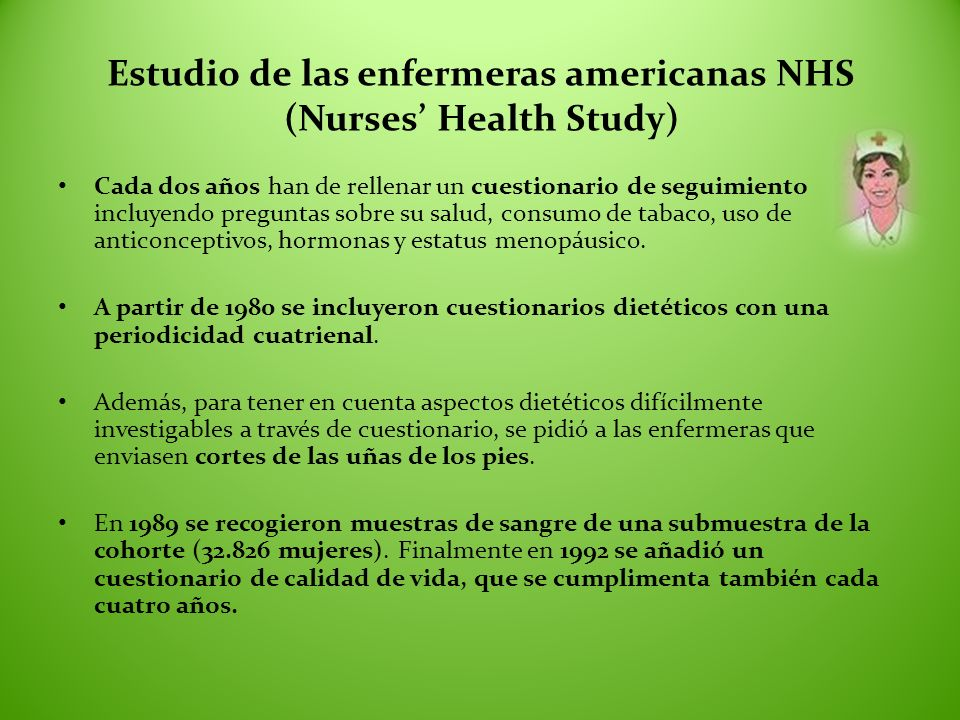 Estudio de las enfermeras americanas NHS (Nurses' Health Study)