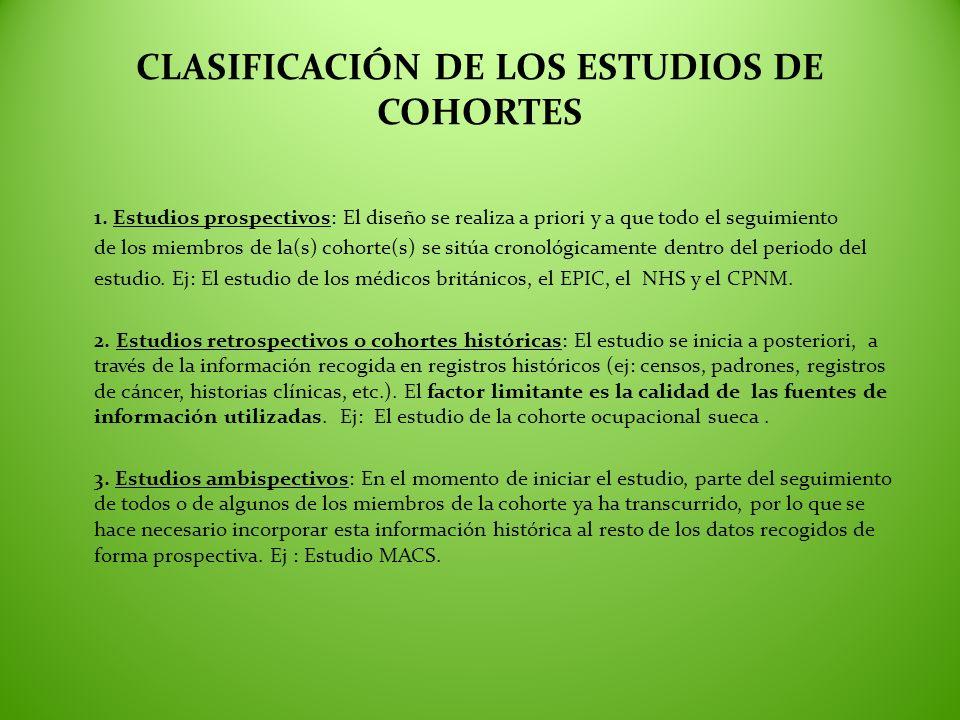 CLASIFICACIÓN DE LOS ESTUDIOS DE COHORTES