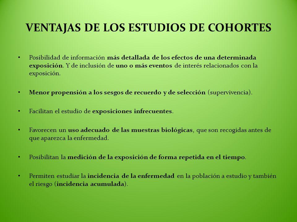 VENTAJAS DE LOS ESTUDIOS DE COHORTES