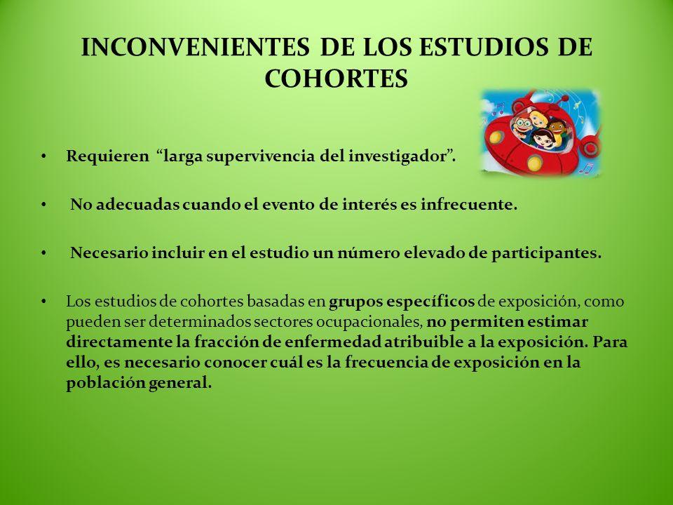 INCONVENIENTES DE LOS ESTUDIOS DE COHORTES