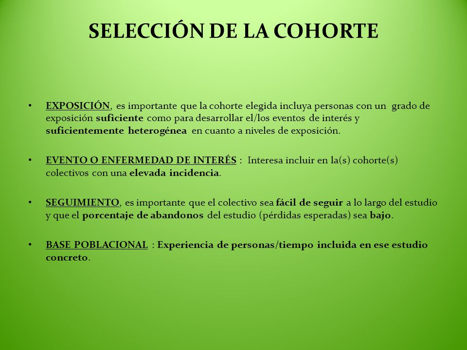 SELECCIÓN DE LA COHORTE