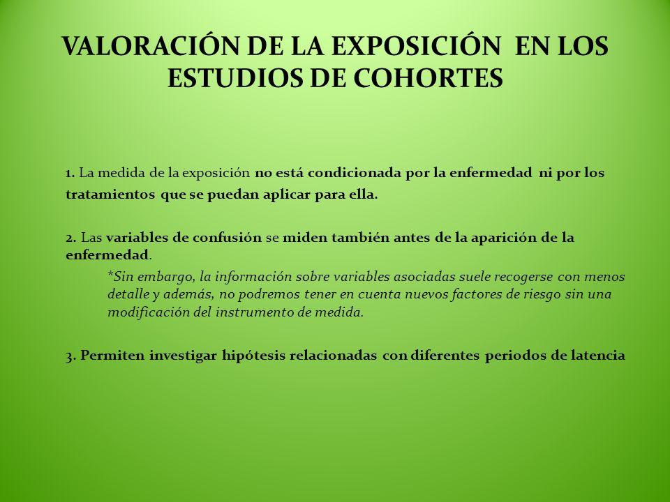 VALORACIÓN DE LA EXPOSICIÓN EN LOS ESTUDIOS DE COHORTES
