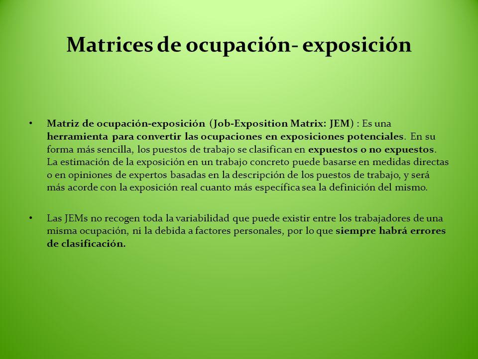 Matrices de ocupación- exposición