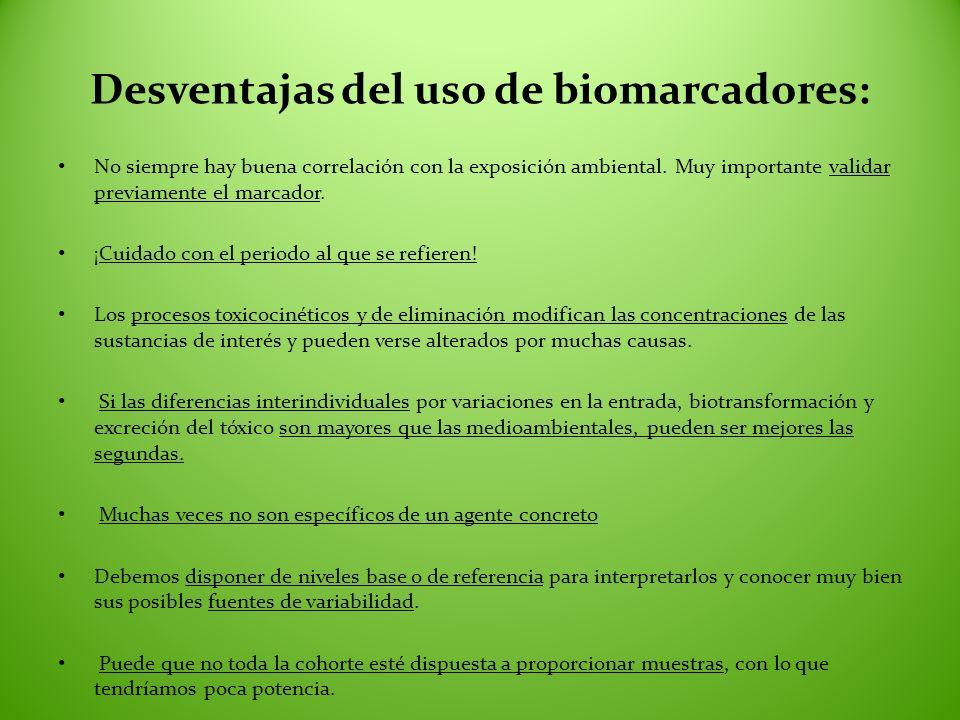 Desventajas del uso de biomarcadores: