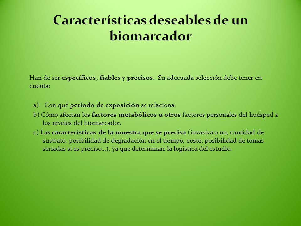 Características deseables de un biomarcador