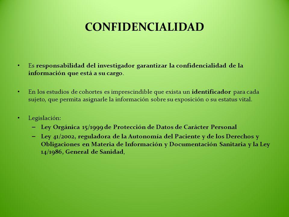 CONFIDENCIALIDAD Es responsabilidad del investigador garantizar la confidencialidad de la información que está a su cargo.