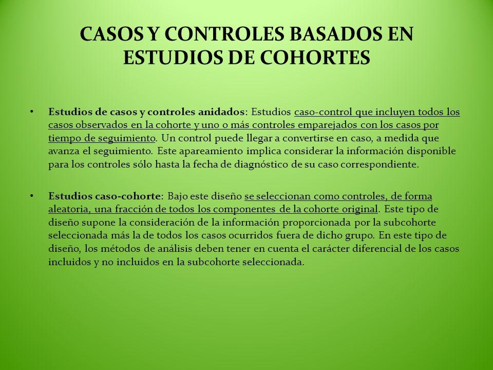 CASOS Y CONTROLES BASADOS EN ESTUDIOS DE COHORTES