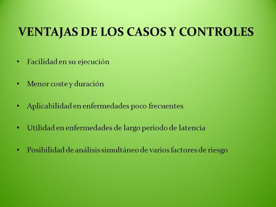 VENTAJAS DE LOS CASOS Y CONTROLES