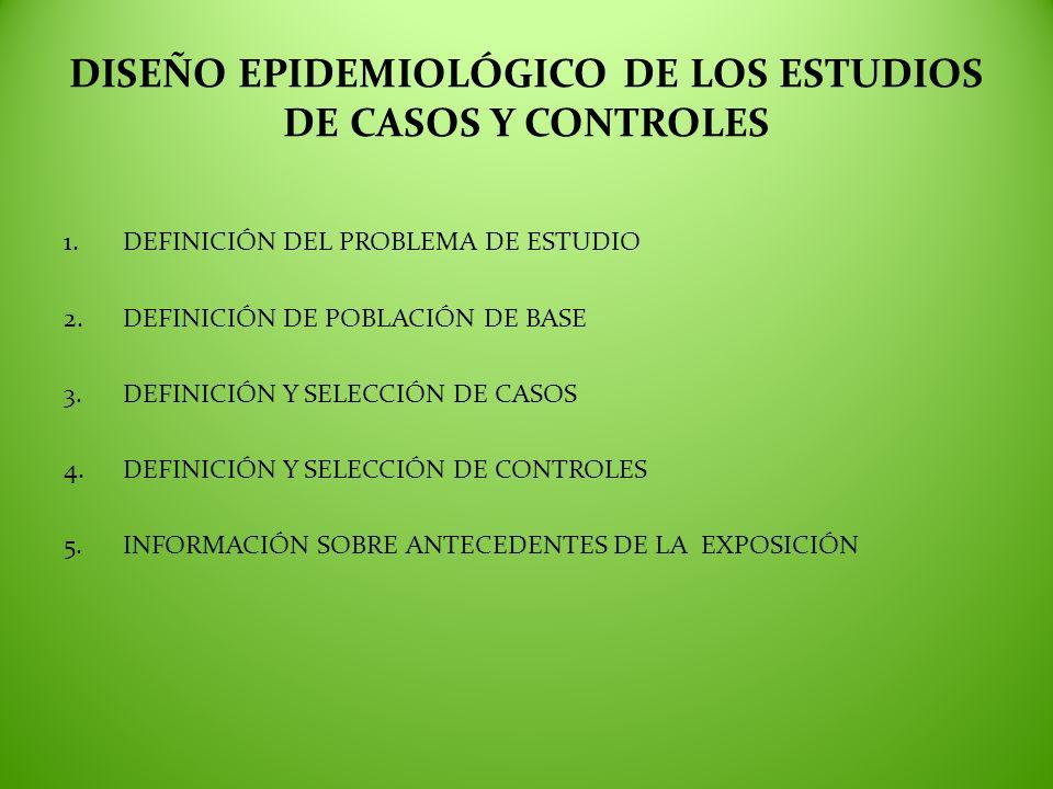 DISEÑO EPIDEMIOLÓGICO DE LOS ESTUDIOS DE CASOS Y CONTROLES