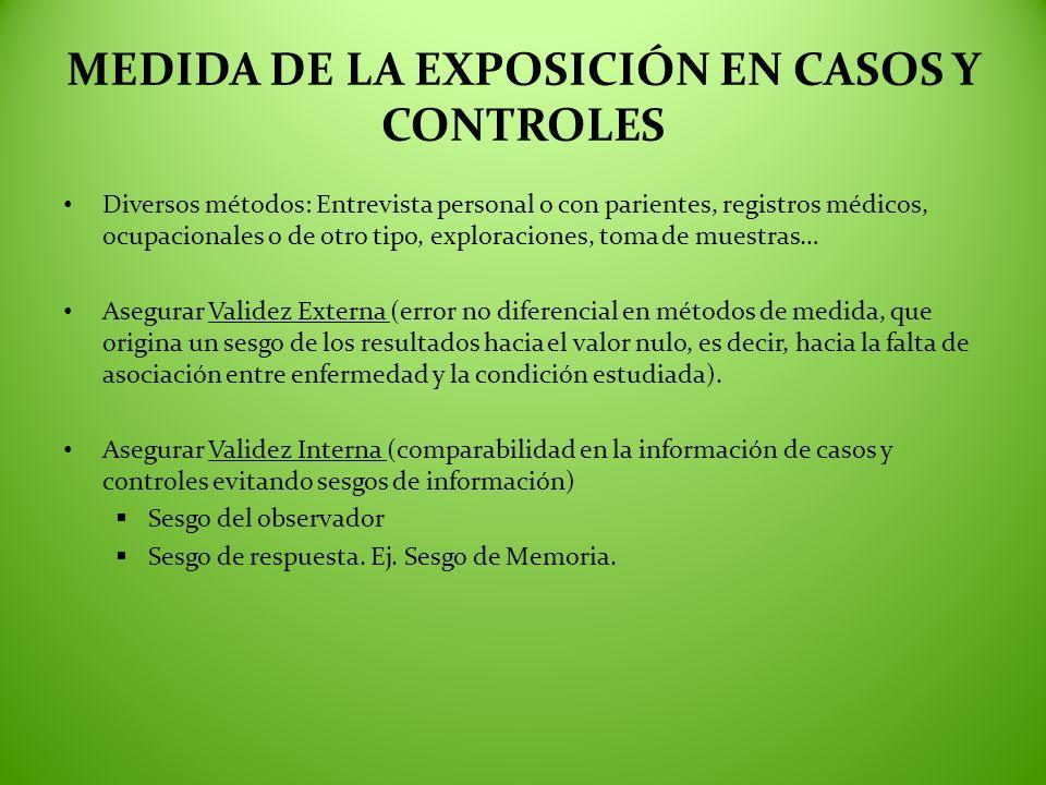 MEDIDA DE LA EXPOSICIÓN EN CASOS Y CONTROLES