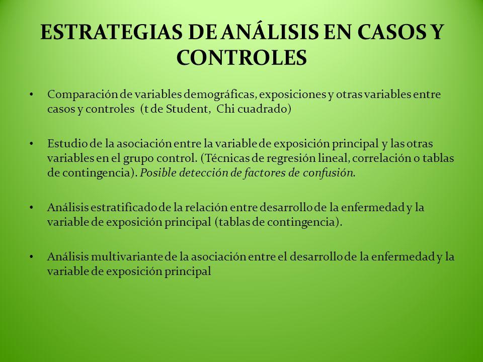 ESTRATEGIAS DE ANÁLISIS EN CASOS Y CONTROLES
