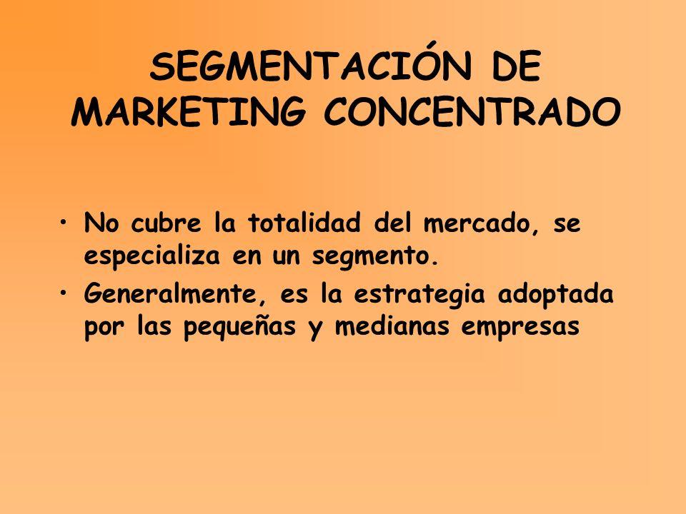 SEGMENTACIÓN DE MARKETING CONCENTRADO