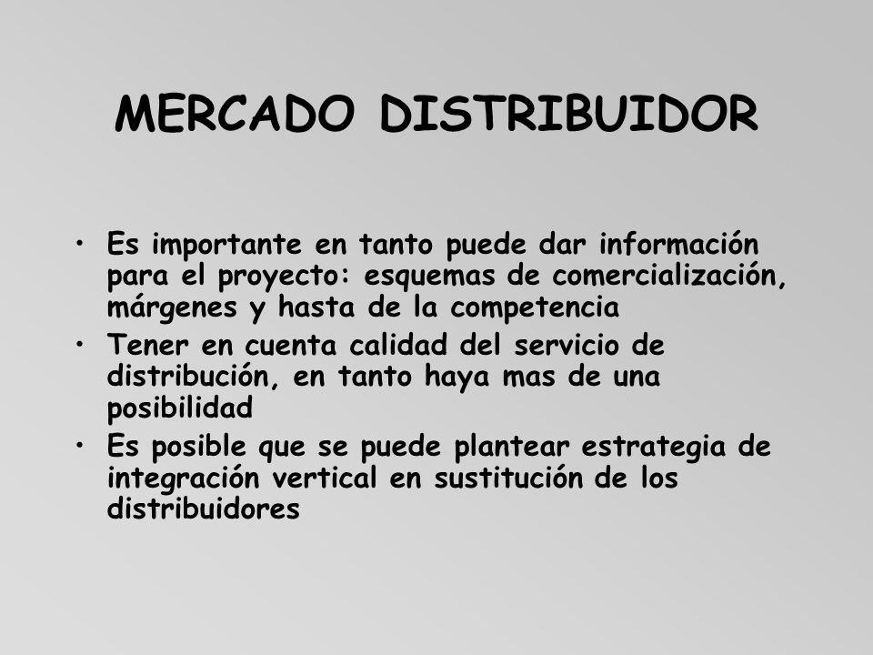 MERCADO DISTRIBUIDOR Es importante en tanto puede dar información para el proyecto: esquemas de comercialización, márgenes y hasta de la competencia.