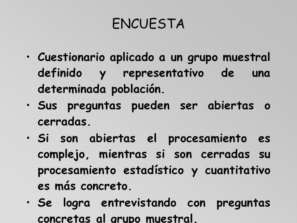 ENCUESTA Cuestionario aplicado a un grupo muestral definido y representativo de una determinada población.
