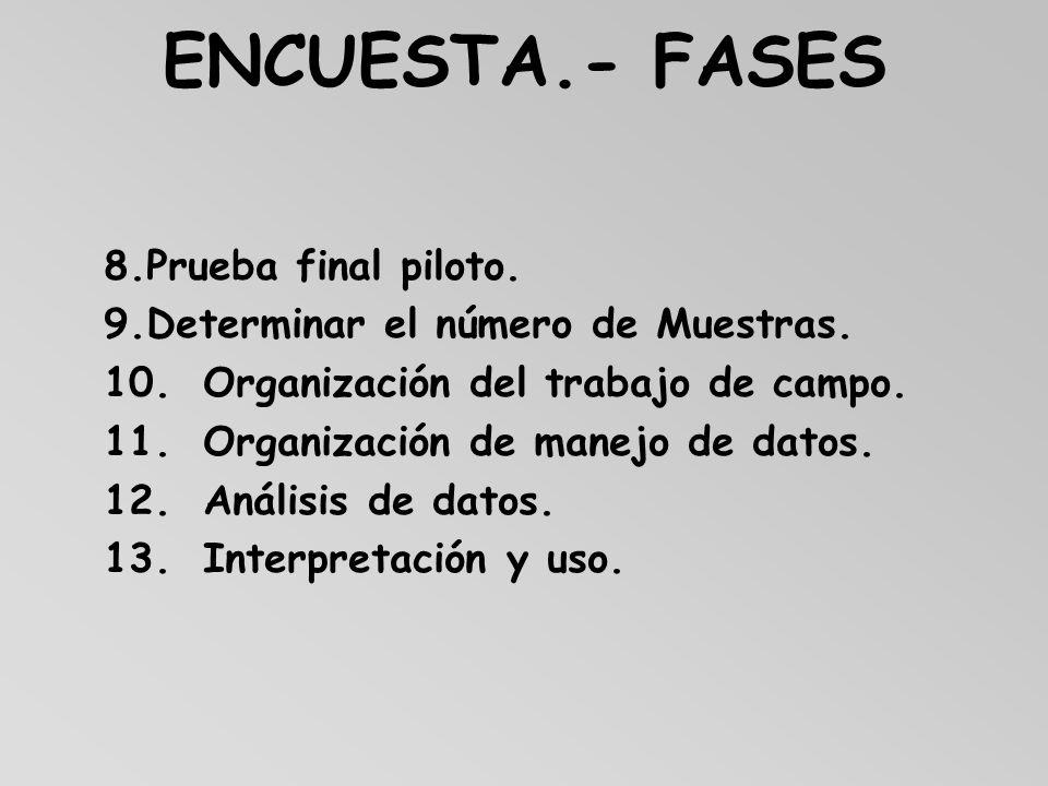 ENCUESTA.- FASES 8. Prueba final piloto.