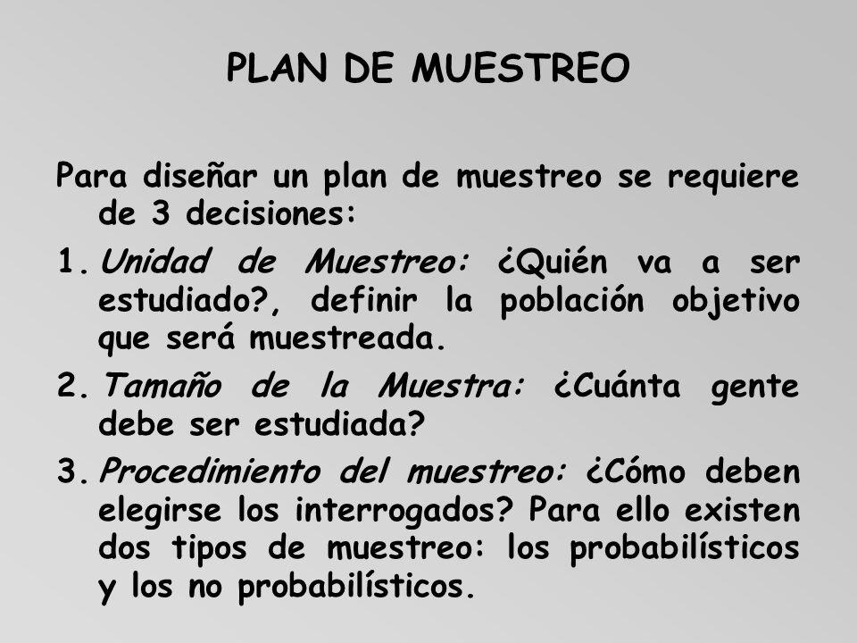 PLAN DE MUESTREO Para diseñar un plan de muestreo se requiere de 3 decisiones: