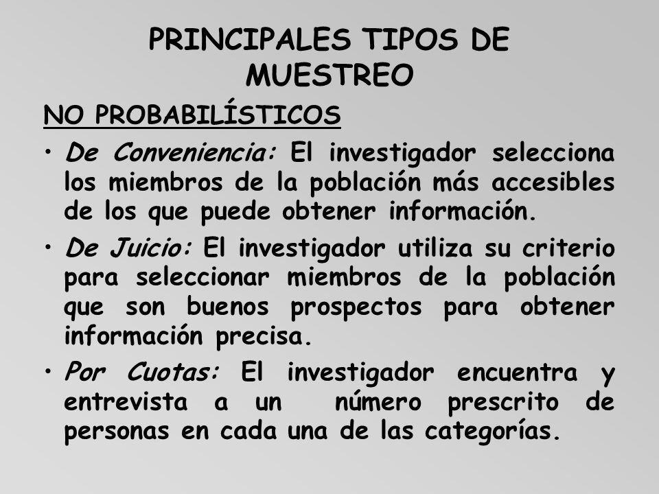 PRINCIPALES TIPOS DE MUESTREO