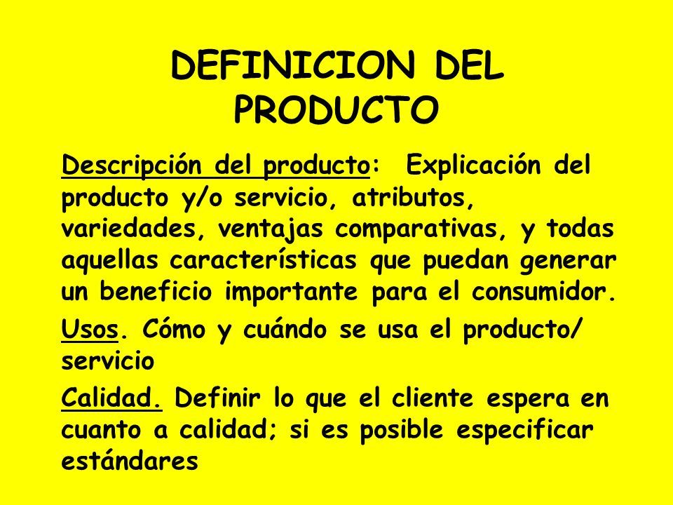 DEFINICION DEL PRODUCTO