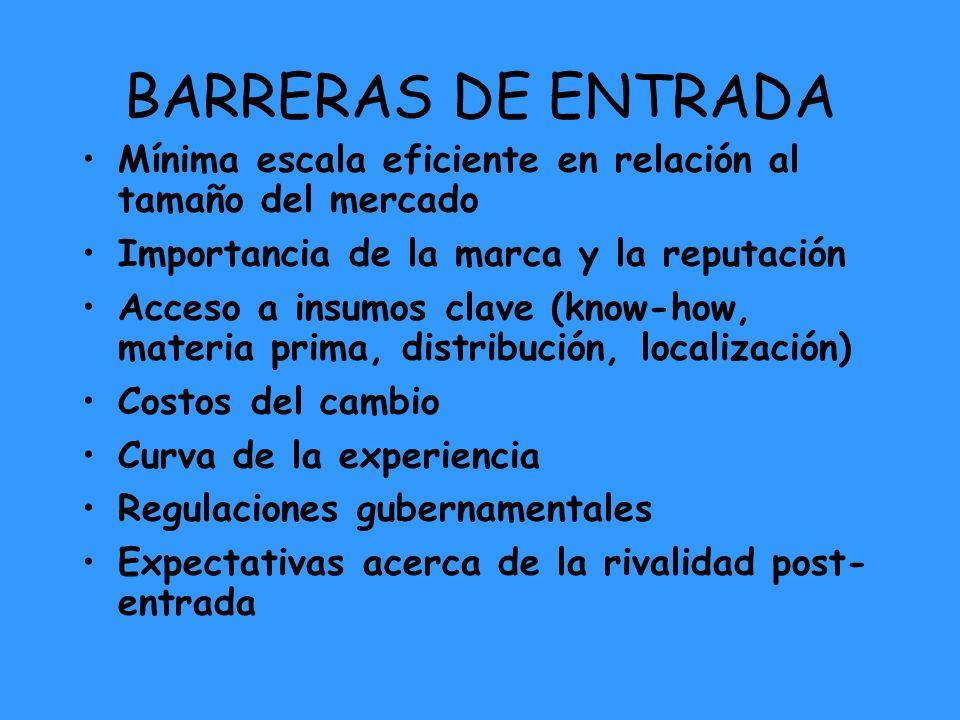 BARRERAS DE ENTRADA Mínima escala eficiente en relación al tamaño del mercado. Importancia de la marca y la reputación.