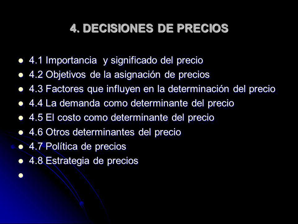4. DECISIONES DE PRECIOS 4.1 Importancia y significado del precio