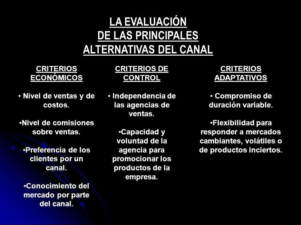 LA EVALUACIÓN DE LAS PRINCIPALES ALTERNATIVAS DEL CANAL